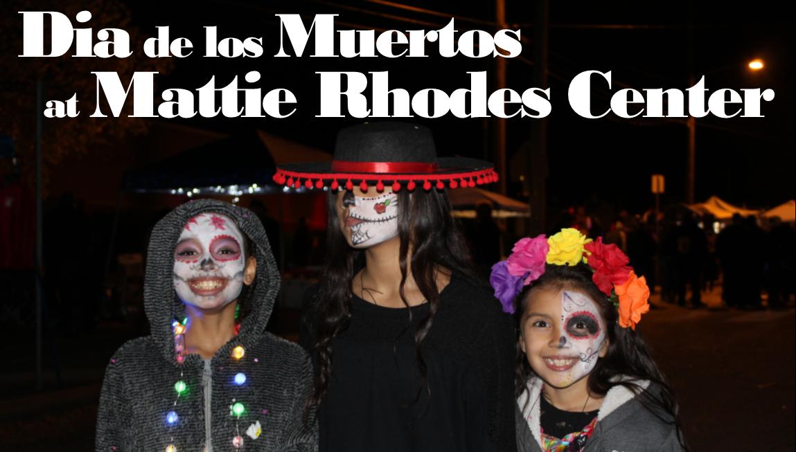 Three girls celebrating Dia de los Muertos