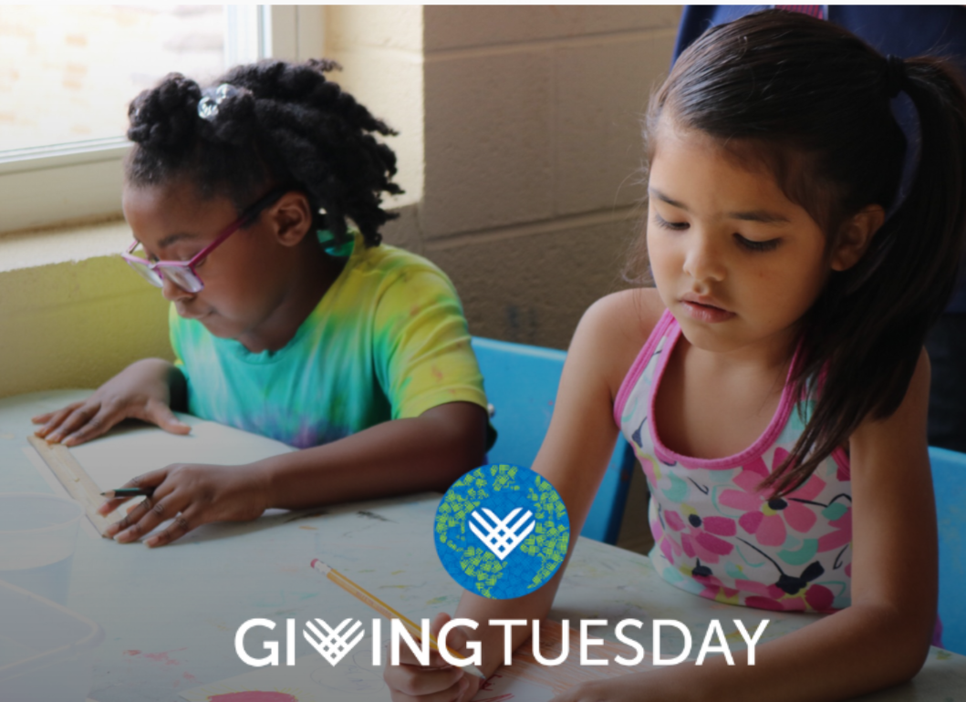 Giving Tuesday picture wtih two girls creating art